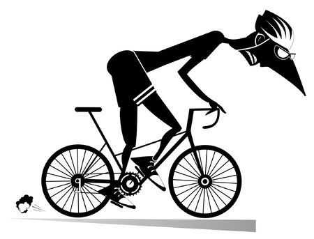 Cyclist rides a bike isolated illustration. Cartoon cyclist man in helmet overcomes a steep ascent black on white illustration Imagens - 115331864