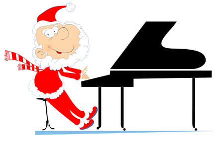 Santa Claus a pianist illustration. Cartoon smiling Santa Claus is playing music on piano and isolated on white illustration