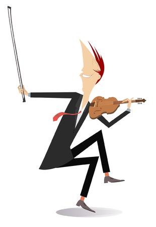 Violinist man illustration. Violinist man is playing music with inspiration isolated on white Vektoros illusztráció