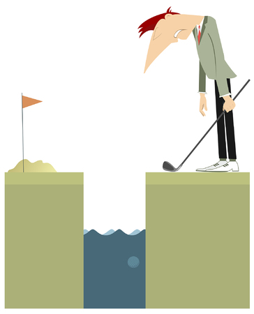 Golfer stays near a water obstacle illustration. Sad golfer has done a bad kick and lost golf ball in the water obstacle illustration