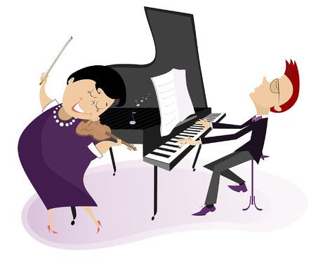Des musiciens de couple jouent de la musique sur une illustration isolée de violon et de piano. Duo de violoniste femme et pianiste homme illustration isolée