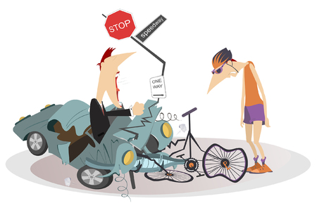 Road accident, driver, cyclist and broken bike illustration. Angry driver man swings his fists and cries to the sad cyclist isolated illustration