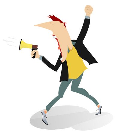 Man screams to megaphone and raises fist up illustration. Protesting man shouts to megaphone man raises fist and demands justice and job isolated on white