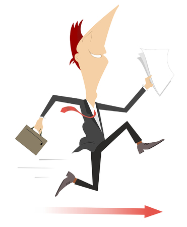 Running businessman and the arrow sign under his feet concept illustration. Smiling man with papers and bag running on the arrow sign isolated on white