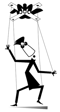 Maestro de ilustración aislada de marionetas. Mano tira cables de cuerda y hombre títere negro sobre blanco