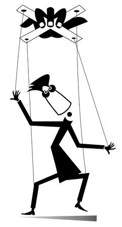 Meister der Marionette lokalisierte Illustration. Hand zieht Schnurdrähte und Marionettenmann schwarz auf weiß