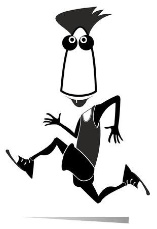 Läufer isolierte Abbildung. Laufender Comic-Cartoon-Mann schwarz auf weiß
