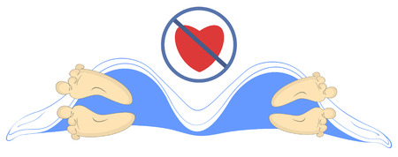 Love has gone illustration. Man and woman lie apart under the blanket and crossed heart symbol above isolated