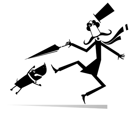 Cartoon aggressive dog and frightened man isolated illustration.  Mustache man in the top hat tries to protect himself from aggressive dog by umbrella black on white illustration Standard-Bild - 119101353