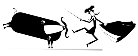 Cartoon long mustache bullfighter holds a sword, matador cape and angry bull black on white illustration