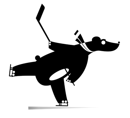 Cartoon bear an ice hockey player black on white illustration. Cartoon bear plays ice hockey original silhouette isolated