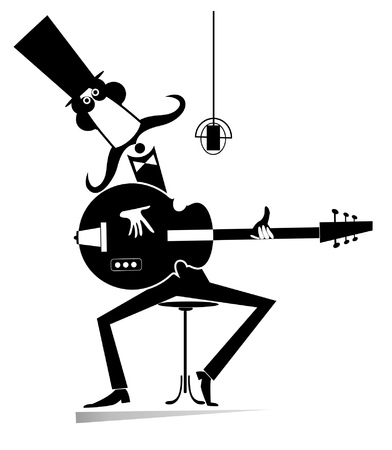 Cartoon long mustache man plays guitar and sings isolated illustration. Mustache man in the top hat playing guitar and sings to microphone black on white illustration