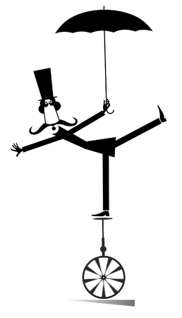 Mustache man in the top hat rides on unicycle illustration. Equilibrist mustache man in the top hat stands one leg on unicycle and holds an umbrella black on white illustration Vektorgrafik