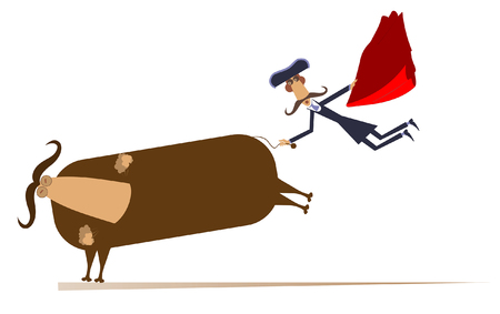 Cartoon long mustache bullfighter catches a running bull by tail isolated on white illustration. Cartoon bullfighter and a bull isolated illustration 矢量图像