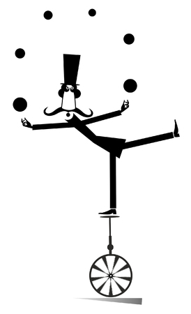 Equilibrist mustache man on the unicycle juggles the balls illustration. Funny long mustache man in the top hat balances on the unicycle and juggles the balls black on white illustration