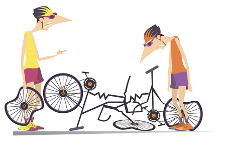 Road accident, two cyclists and broken bikes illustration. Broken bikes and angry cyclist holds a broken wheel and scolds the sad cyclist with hang his head isolated illustration