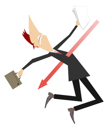 Businessman pierced with arrow sign concept illustration. Frightened man with bag and papers pierced with arrow sign isolated on white Standard-Bild - 123740011