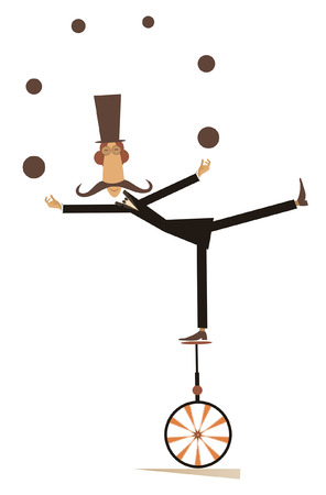 Equilibrist mustache man on the unicycle juggles the balls illustration. Funny long mustache man in the top hat balances on the unicycle and juggles the balls isolated on white illustration