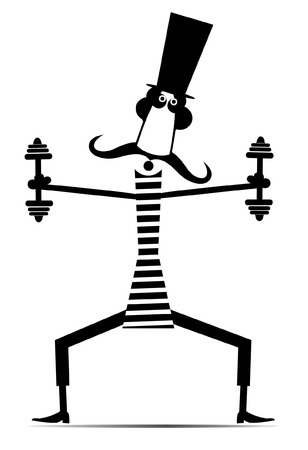 Cartoon long mustache man does exercises with dumbbells isolated illustration. Mustache man in the top hat dressed a striped athletic tights does exercises with dumbbells black on white Ilustrace