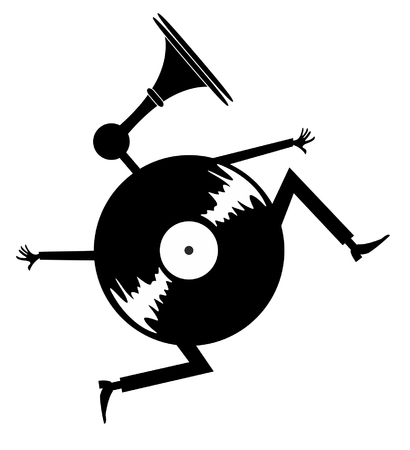 Cartoon running vinyl illustration. Comic long-playing record with hands, legs and loud hailer instead the head black on white