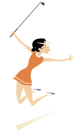 Golfer woman on the golf course isolated illustration. Jumping happy golfer woman holds a golf club isolated on white