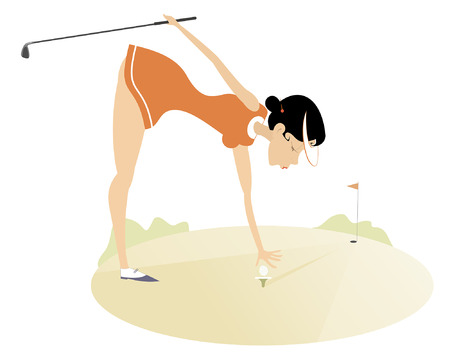 Golfer woman on the golf course isolated illustration. Golfer woman holds a golf club and puts a ball on the stand isolated illustration