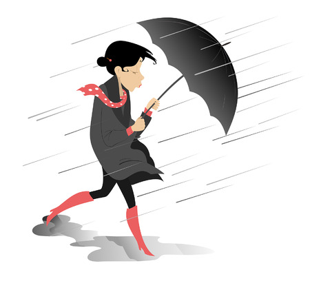 Windy and rainy day and woman with umbrella isolated illustration. Woman with umbrella walking on the puddles under the rain isolated illustration