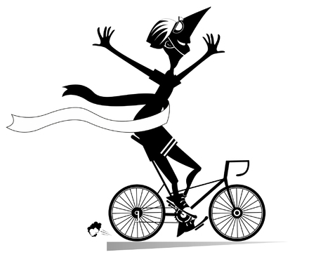 Cartoon man rides a bike and wins the race isolated illustration. Smiling man in helmet rides a bike and finishes with a winner ribbon black on white