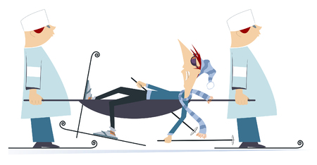 Injured skier and two physicians with a stretcher illustration. Two physicians carry injured skier in a stretcher isolated on white illustration