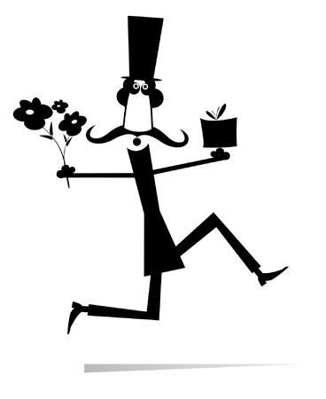 Running man with a bunch of flowers and present isolated illustration. Long mustache man in the top hat hurries to give to woman a bunch of flowers and a present black on white illustration