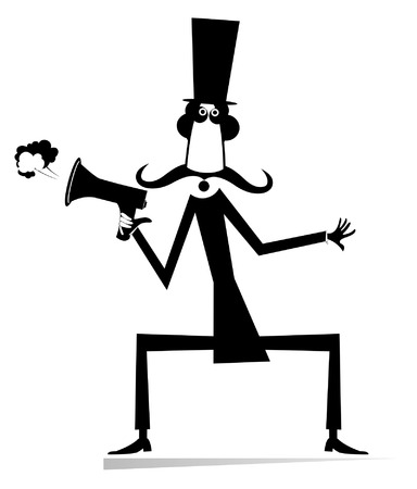 Man, megaphone and news illustration  Cartoon mustache in the top hat man with megaphone makes announcement black on white Illustration