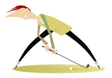 Smiling golfer on the golf course illustration. Cartoon smiling golfer aiming to do a good kick illustration Иллюстрация