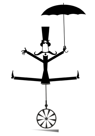 Equilibrist mustache man on the unicycle with an umbrella illustration. Funny long mustache man in the top hat balances on the unicycle and holds umbrella black on white illustration