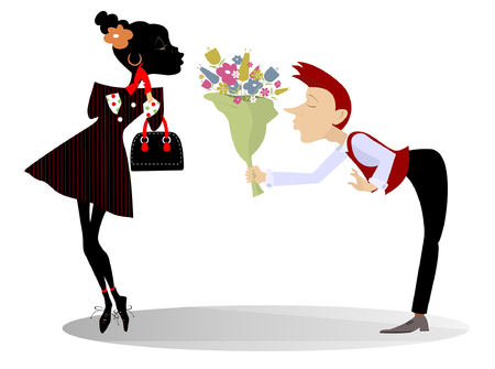 Love between African woman and Caucasian man isolated illustration. Caucasian man in love with an African woman and gives her a bunch of flowers illustration