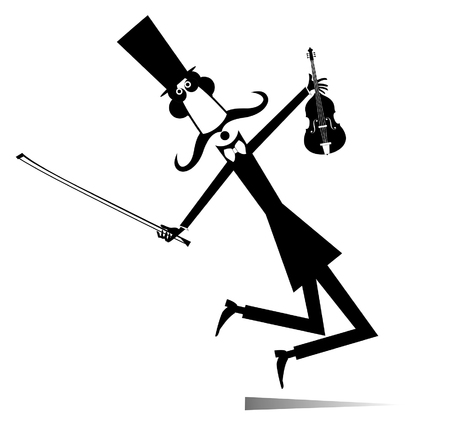 Long mustache man in the top hat is playing music on the violin with inspiration.  Long mustache man in the top hat with violin and fiddlestick black on white illustration Stock Illustratie
