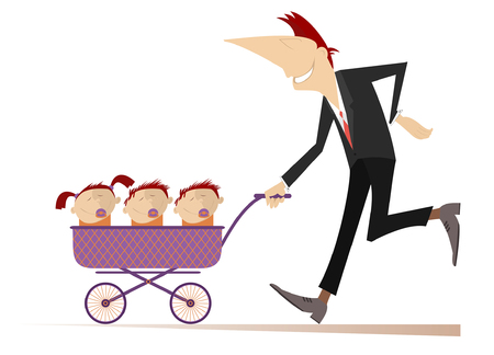 Smiling man with children in the stroller illustration. Cheerful young man carries a stroller with three children in isolated on white illustration Ilustracja