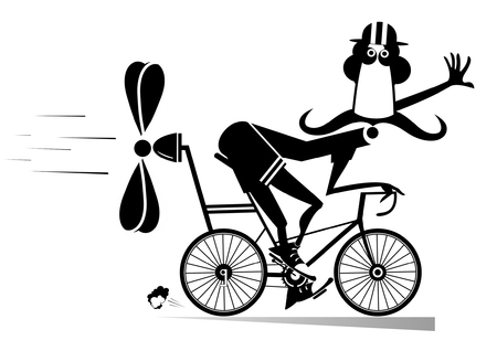 Cartoon man rides a bike isolated illustration. Smiling long mustache man in helmet on the bike tries to ride faster using a propeller black on white