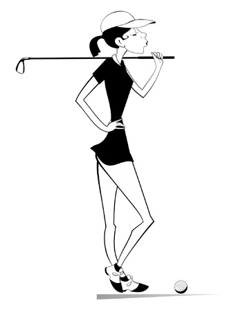 Young golfer woman on the golf course black on white illustration