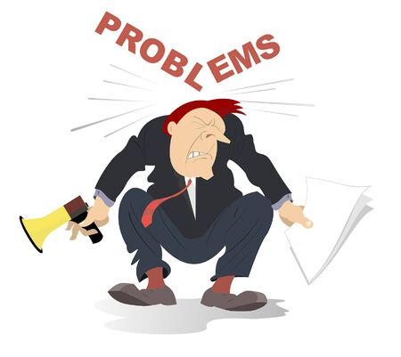 "Business problems concept illustration. Inscription ""Problems� falls down to the head of the businessman holding papers and megaphone isolated on white Illustration"