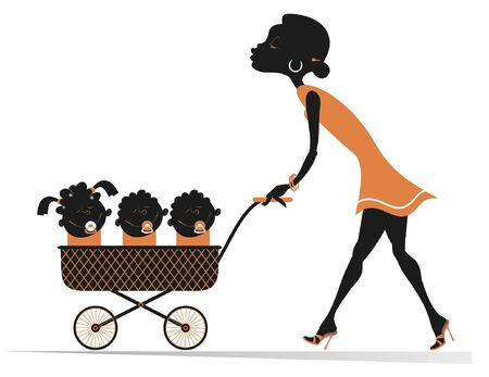 African woman with children in the stroller illustration. Cheerful young African woman carries a stroller with three babies in isolated on white illustration Illustration