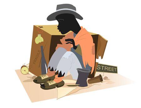 Hombre africano sin hogar aislado. Hombre africano hambriento y frío se sienta cerca de la caja de cartón