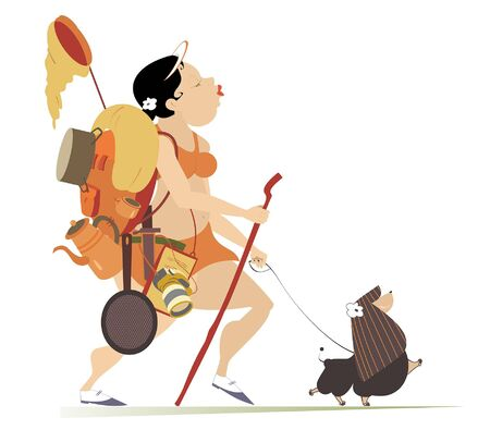 Plump young woman hiking with a dog illustration. Cartoon fat young woman with rucksack and outfit hikes with a dog and looks healthy and happy isolated on white illustration