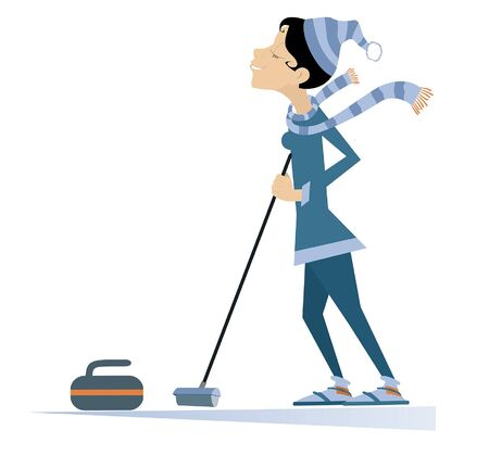 Smiling young woman plays curling isolated illustration. Young woman with a curling brush and a stone isolated on white illustration  イラスト・ベクター素材