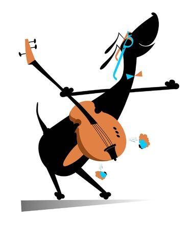 Cartoon dog plays guitar illustration. Comic dachshund plays guitar isolated on white illustration