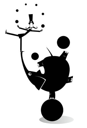 Elephant and equilibrist mustache man juggle the balls illustration. Funny long mustache man in the top hat balances on the trunk of the elephant and juggles the balls black on white illustration