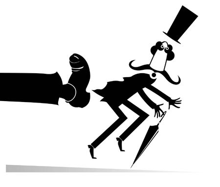 Man has been given a kick to the ass illustration. Long mustache man in the top hat with umbrella has been given a kick to the ass black on white Ilustração