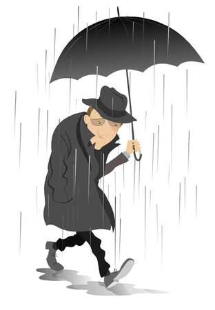 Rainy day and the man in low spirits illustration.  Sad man with umbrella is walking on the puddles under the rain isolated on white Foto de archivo - 129733514