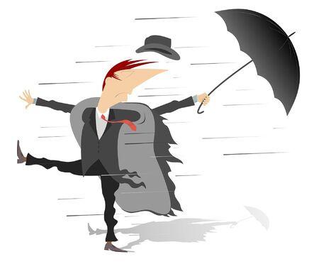 Starker Wind, Regen und Mann mit Regenschirmillustration. Wirbelwind, Regen und Mann mit Regenschirm verlorenen Hut isoliert auf weißer Illustration