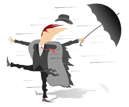 Strong wind, rain and man with umbrella illustration. Whirlwind, rain and man with umbrella lost hat isolated on white illustration