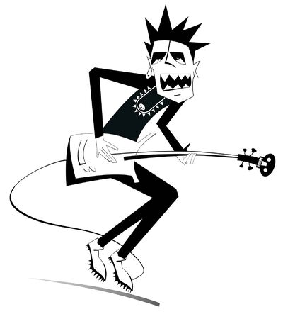 Cartoon expressive guitarist illustration. Guitarist is playing music and singing with the great inspiration black on white Illustration